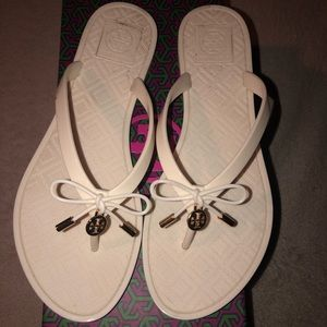 Tory Burch ivory jelly bow thong sandals